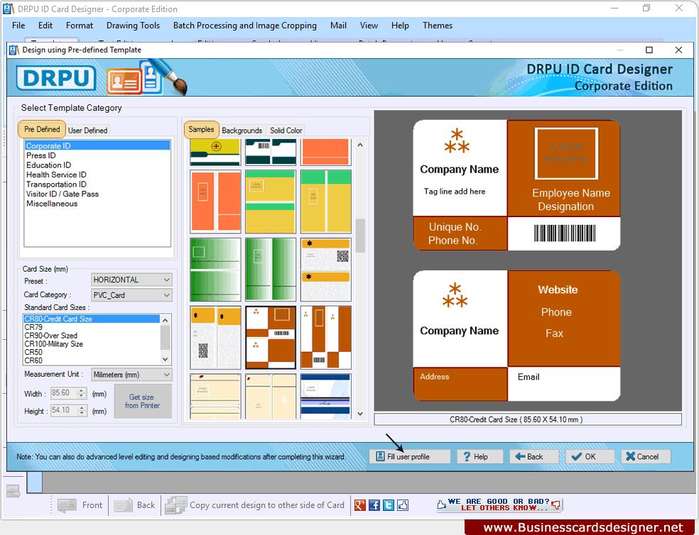 id card designer corporate edition screenshots explain how to